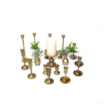 Brass Candlesticks Brass Candle Holders Lot of Brass Candlesticks Wedding Candlesticks Wedding Decorations - Set of 18