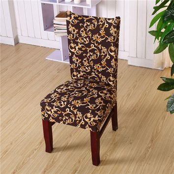1 Piece Universal Flower Printing Spandex Stretch Short Removable Elastic Cloth Chair Covers Banquet Style Chair Covers