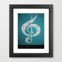 Music & Peace Aqua Blue Artist Signed Framed Print Turquoise Gray White Black Music Notes Sheet Music Glee Choir Band Songs Sing