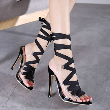 2017 summer High Heels Sandals Women Sexy Classic Roman PVC Clear Transparent Strappy Sandals Gladiator Stilettos Plus Size 40