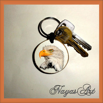 Eagle Keychain personalized. Eagle bird keyring. Eagle White Wooden Handmade Keyring Keychain. Unique gift keychain Wooden natural slice
