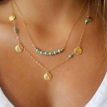 New fashion jewelry metal disc charm green statement necklace multi-layer pendant necklace female elegant necklace