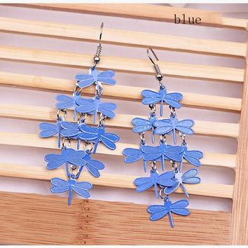 Women Girls Blue Dragonfly  Elegant  Colorful fashion personality  dragonfly earrings Drop Dangle Party  Gift