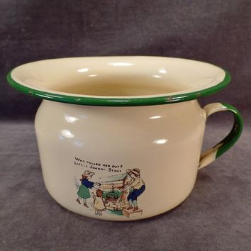 Vintage Enamelware – Child's Chamber Pot with Nursery Rhyme – Little Johnny Stout
