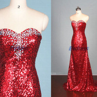 Latest red sequins prom dresses sparkly,elegant women dress for pageant party,2015 affordable floor length evening gowns hot.