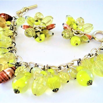 Yellow Glass Bracelet Set, Cha Cha Style - Bracelet Earrings, Vintage Glass Beads- Lemon Bright Clear Yellow, Made in W. Germany