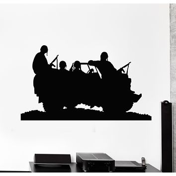 Vinyl Wall Decal War Soldiers Military Car Weapon Boys Room Stickers Mural (g236)