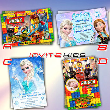 Lego and Frozen Movie - Invitation Card - Birthday Party Kids - InviteKids