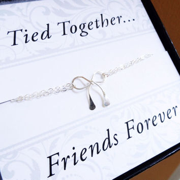 friendship bracelet with Friendship card, best friend gifts, silver bow bracelet, Friends forever, gifts for best friends & sisters