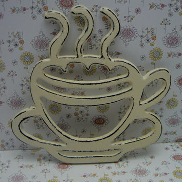 Coffee Cup Cast Iron Trivet Hot Plate Cream Off White Distressed Cottage Shabby Chic Ornate Steam Swirls Tea Cup Kitchen Country Chic Decor