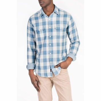 Faherty, Doublecloth Shirt, Light Blue Buffalo Check