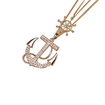 Anchor Pendant Long Chain Necklace Gold Plated with Rhinestones