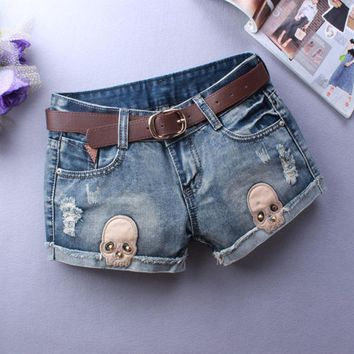 Skull Jeans Ripped Shorts