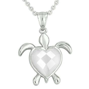 Lucky Charm Turtle Heart Powers Amulet White Cats Eye Faceted Gemstone Magic Pendant Necklace
