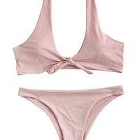 Women's Sexy Bikini Swimsuit Tie Knot Front Swimwear Set