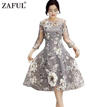 ZAFUL Plus Size Women Dresses Boho Round Neck 3/4 Sleeve Floral Print See-Through Midi Party Dress Lady Female Vestidos de festa