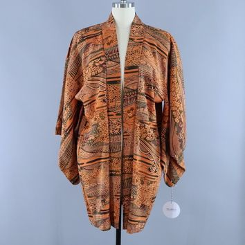 Vintage 1950s Silk Haori Kimono Cardigan Jacket / Orange & Black