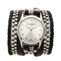 Sara Designs Leather & Crystal Wrap Watch