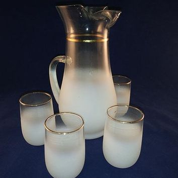 Frosted White Pitcher With 4 Tumblers