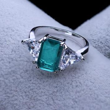 New Fusion Stone Hot Style Green Stones Glass crystal  Engagement jewelry Women rings for Wedding RWX001722