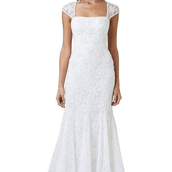 Adrianna Papell Ivory Beaded Lace Cap Sleeve Trumpet Wedding Gown