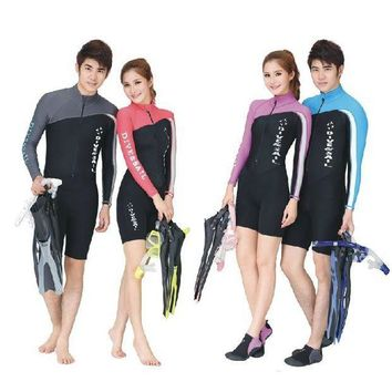 DCCKUH3 Sun protection clothing Professional Diving suit Long sleeve pants Nylon Lycra swimming suits Body wetsuits for men and women