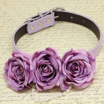 Purple Floral dog Collar, Flowers and Pearls, Wedding pets accessory, Puppy Love