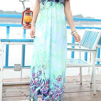 Light Green Floral Print Halter Maxi Dress