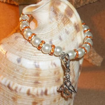 Guardian Angel White Pearl Bead and Orange Crystal Rondelle Beaded Hand Crafted Bangle Bracelet