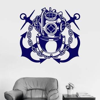 Vinyl Wall Decal Diving Suit Anchor Diver Marine Ocean Bathroom Decor Stickers Unique Gift (ig3110)