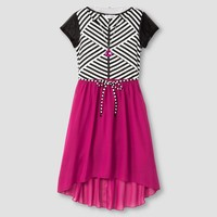 Girls' Stripe Top with Solid skirt - Berry