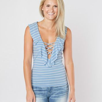 WILLOW & ROOT STRIPED LACE-UP TANK TOP