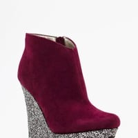 Glitter Wedge Boot - Wine