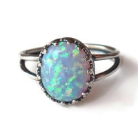 Sterling Silver Blue Fire Opal Crown Set Ring