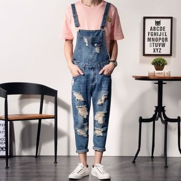 *online exclusive* men's distressed denim overalls