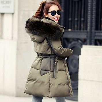 New Winter Promotional Women Winter Coat Big Fur Collar Long Section Of Code White Duck Down Jacket Female Military Thickening