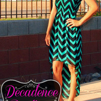 BLURRED LINES CHIFFON CHEVRON HI LOW DRESS IN TEAL