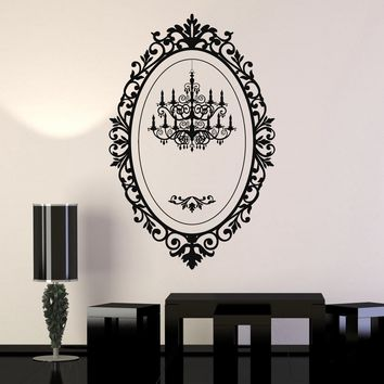 Vinyl Wall Decal Chandelier Mirror Frame Lighting Patterns Art Stickers Unique Gift (065ig)