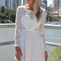 New 2015 Vintage Dresses Sexy front Love Wedding Party Hollow Long Sleeve Lace The Back With Bow Skater Dress LC21730