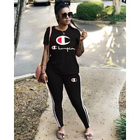 Champion Fashionable Women Leisure Print Top Pants Trousers Sport Set Two-Piece Black