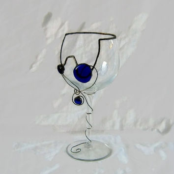Recycled wine glass ,stained glass technique ,wine glass decor , glass decor