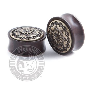 Antique Floral Ebony Wood Plugs