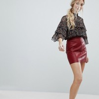 New Look PU Mini Skirt at asos.com
