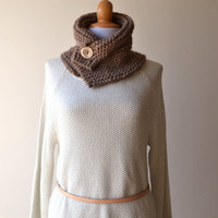 ALPACA Hand Knited Cowl - Cozy Beige Neckwarmer - Fall Winter Accessories