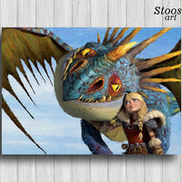 how to train your dragon poster Astrid and Stormfly print nursery decor