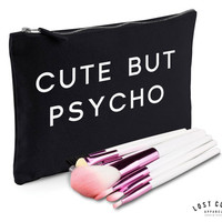 Cute But Psycho Slogan Make Up Bag Case Makeup Gift Clutch Contents