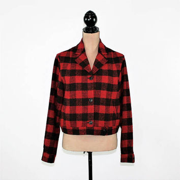 Red and Black Buffalo Plaid Jacket Women Medium Wool Cropped Coat Size 10 Jacket Talbots Vintage Clothing Womens Clothing