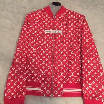 onetow One-nice? Louis Vuitton Supreme Blouson Red Leather Monogram Jacket Size 52