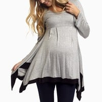 Grey-Black-Asymmetric-Trim-Maternity-Top