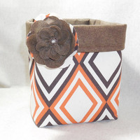 Orange and Brown Geometric Pattern Fabric Basket With Detachable Fabric Flower Pin